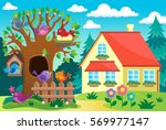 tree with birds near house  ... | Shutterstock .eps vector #569977147