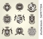 knight shields and royal coat... | Shutterstock .eps vector #569977504