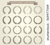 set of laurel wreaths in... | Shutterstock .eps vector #569977549