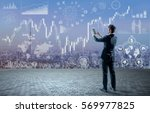 young businessman holding... | Shutterstock . vector #569977825