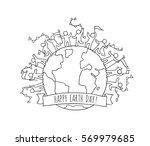 cartoon happy little people... | Shutterstock .eps vector #569979685