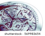 Elegant and Complicated Hand Watch Mechanism 3D Illustration.  - stock photo