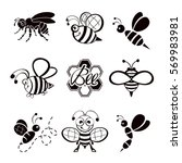 set of black bee icons isolated ... | Shutterstock .eps vector #569983981