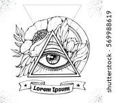 all seeing eye symbol inside... | Shutterstock .eps vector #569988619