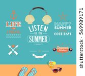 set of summer vacations vector... | Shutterstock .eps vector #569989171
