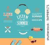 set of summer vacations vector... | Shutterstock .eps vector #569989171