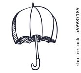 pen drawing umbrella vector... | Shutterstock .eps vector #569989189