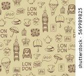 brown hand drawn retro british... | Shutterstock .eps vector #569989825