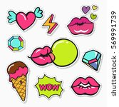 trendy  patches  stickers and... | Shutterstock .eps vector #569991739