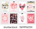 Stock vector collection of pink black white colored valentine s day card sale and other flyer templates with 569996554