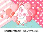 happy valentine's day card... | Shutterstock .eps vector #569996851