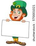 leprechaun carrying a blank sign | Shutterstock .eps vector #570001021