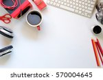 white office desk table with a...   Shutterstock . vector #570004645