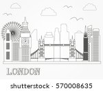 london city skyline silhouette. ... | Shutterstock .eps vector #570008635