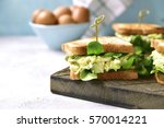 sandwich with egg avocado salad ... | Shutterstock . vector #570014221