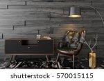black leather armchair  dresser ... | Shutterstock . vector #570015115