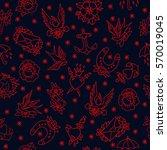 seamless doodle pattern.... | Shutterstock .eps vector #570019045