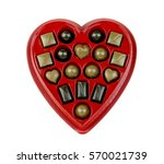 box of chocolate candy in a red ... | Shutterstock . vector #570021739
