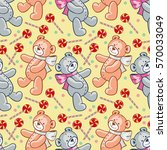 seamless pattern with hearts... | Shutterstock .eps vector #570033049