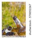 smashed bottle of beer resting... | Shutterstock . vector #570052267