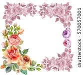 watercolor flower border | Shutterstock . vector #570057001