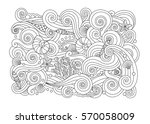 coloring page with abstract sea ... | Shutterstock .eps vector #570058009