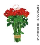 bouquet of red flowers. roses... | Shutterstock .eps vector #570060259