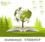 globe on opened book. green... | Shutterstock .eps vector #570064519