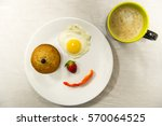 smiley face food and coffee. | Shutterstock . vector #570064525