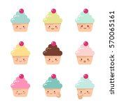 collection of cute vector... | Shutterstock .eps vector #570065161