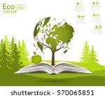 globe on opened book. green... | Shutterstock .eps vector #570065851