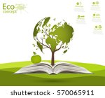 globe on opened book. green... | Shutterstock .eps vector #570065911