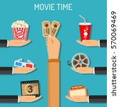 cinema and movie time concept... | Shutterstock .eps vector #570069469