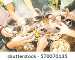 friends hands toasting red wine ... | Shutterstock . vector #570070135