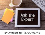 tablet pc with ask the expert... | Shutterstock . vector #570070741