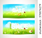 vector set of two spring sale... | Shutterstock .eps vector #570076279