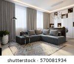 modern living room interior... | Shutterstock . vector #570081934