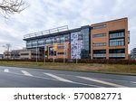 Small photo of Hilversum, Netherlands, February 2017. Building of the Dutch branch of the RTL Group commercial broadcasting company at the Mediapark in Hilversum