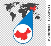 world map with zoom on china.... | Shutterstock .eps vector #570084361
