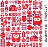 scandinavian seamless pattern   ... | Shutterstock .eps vector #570091219