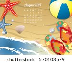 beach calendar for august 2017 | Shutterstock .eps vector #570103579