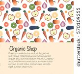 fruits and vegetables pattern... | Shutterstock .eps vector #570109255