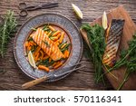salmon fillets. grilled salmon  ... | Shutterstock . vector #570116341