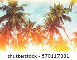 Small photo of Coconut palm trees on tropical beach vintage nostalgic film color filter stylized and toned