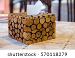wood tissue dispenser at a...