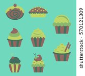 sweets set  cupcakes | Shutterstock .eps vector #570121309
