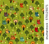 Owls Forest Vector Seamless...