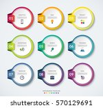 set of 9 circle templates for... | Shutterstock .eps vector #570129691