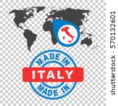 made in italy stamp. world map... | Shutterstock .eps vector #570132601