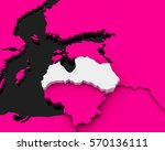 latvia map pink background 3d... | Shutterstock . vector #570136111
